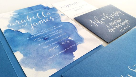 Custom Wedding Invitations - Watercolor - Beach Wedding- Custom Wedding Invitation - Invitation - Calligraphy - The Capri Suite - DEPOSIT