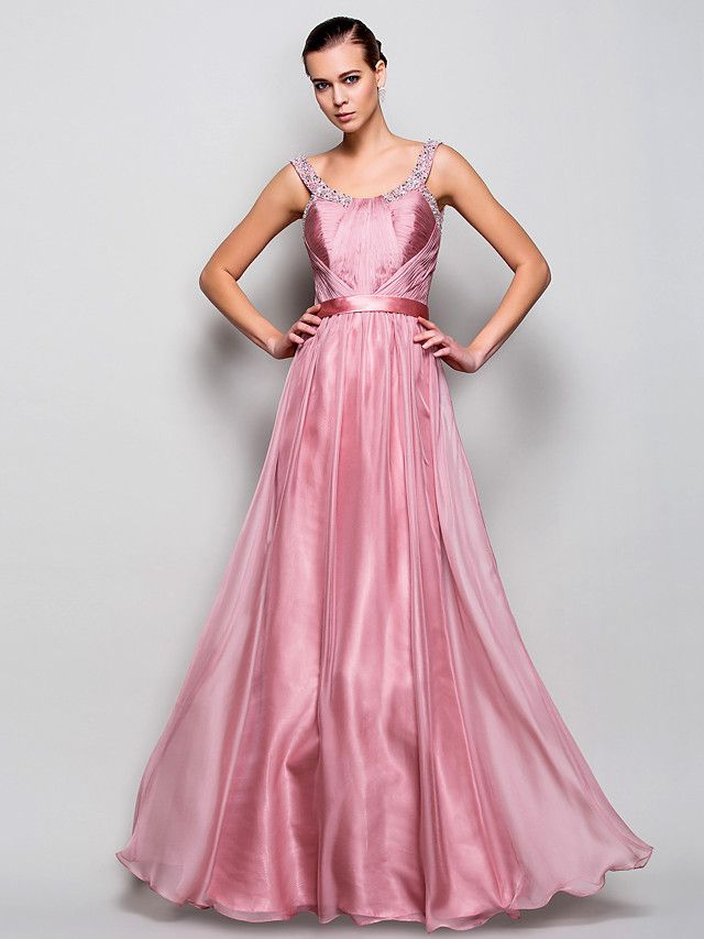 Prom / Military Ball / Formal Evening Dress - Pearl Pink Plus Sizes / Petite A-line / Princess Straps Floor-length Chiffon - USD $99.99