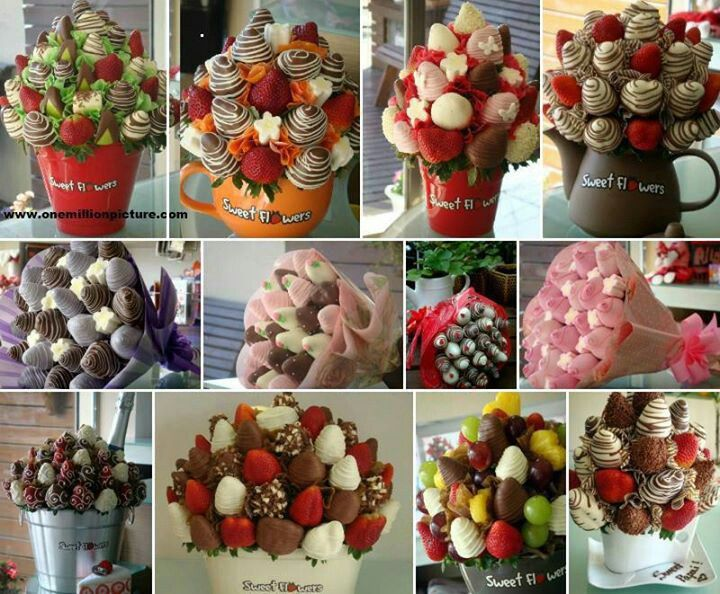 Strawberry bouquets. Some really great ideas!
