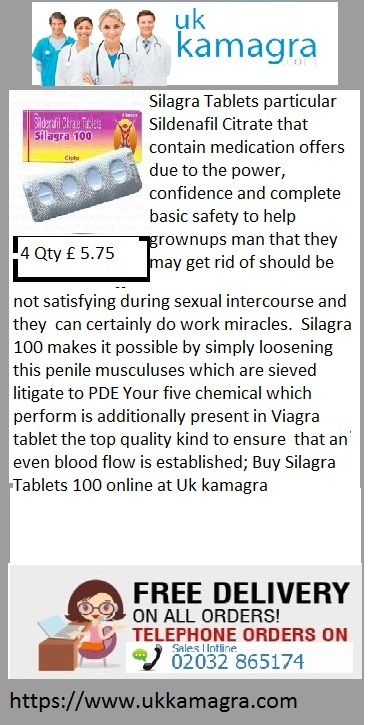 Silagra Tablets particular Sildenafil Citrate that contain medication offers due to the power, confidence and complete basic safety to help grownups man that they may get rid of should be not satisfying during sexual intercourse and they can certainly do work miracles. Silagra 100 makes it possible by simply loosening this penile musculuses which are sieved litigate to PDE Your five chemical which perform is additionally present in Viagra tablet the top quality