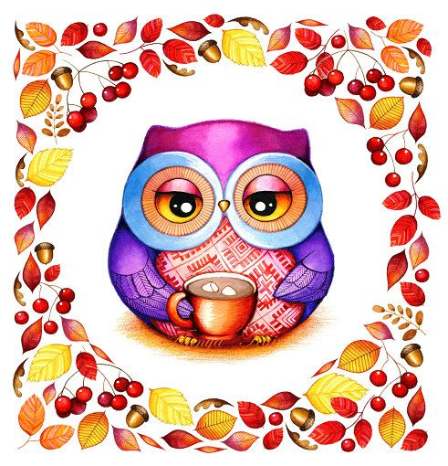 Autumn Wreath  Owl with Cocoa and Marshmallows  by AnnyaKaiArt, $18.00