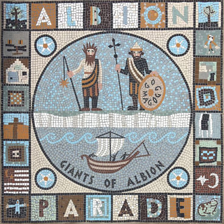 mosaic albion parade stoke newington hackney london giants gog magog white cliffs of dover roman invasion of britain