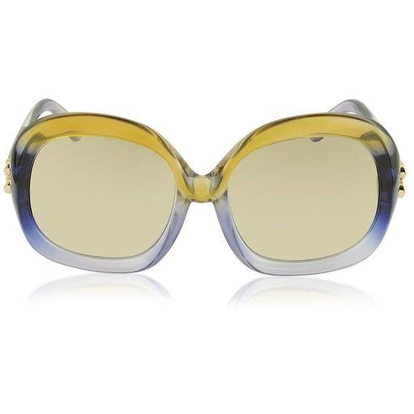 Balenciaga BA0008 41F Lilac & Dark Yellow Oversized Women's Sunglasses ($338) ❤ liked on Polyvore