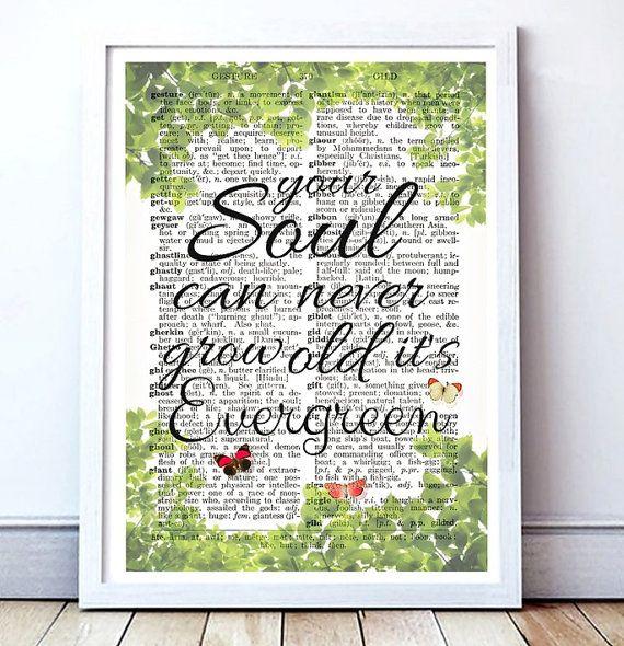 evergreen song lyrics printable card dictionary page art
