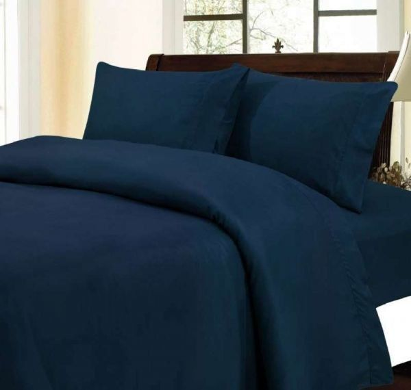 "1200Tc Egyptian Cotton 17""Pocket 6 Pc. Navy Blue Twin Xl Bedding Set / Bed Sheet"