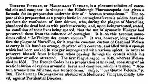 Four Thieves history - Vinegar Citation in 1825