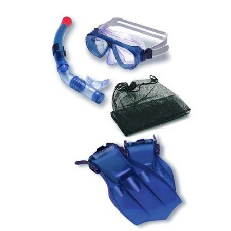 Water Sports Recreational Blue Mask, Snorkel and Fins Swimming Pool and Water Snorkeling Set