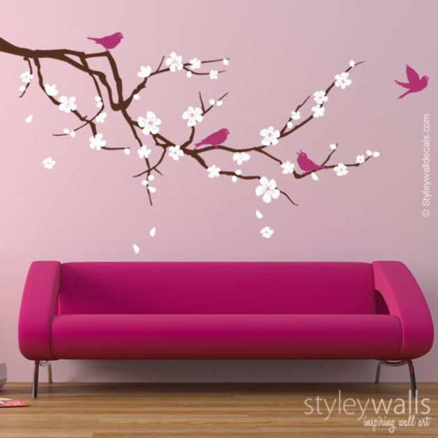 Wall Stickers – Blossoming Flowers Branch Vinyl Wall Decal – a unique product by Smileywalls on DaWanda
