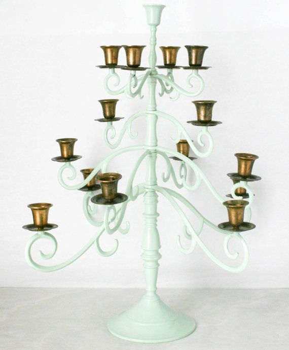 Vintage Large Candelabra - Mint Green, Multi-Tiered, Table Centerpiece, Formal Dining, Candlestick Holder. $85.00, via Etsy.