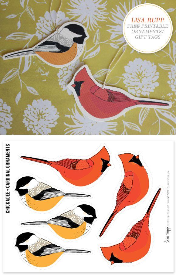 free printable gift tags. Meise zum Ausdrucken. Vogelanhänger