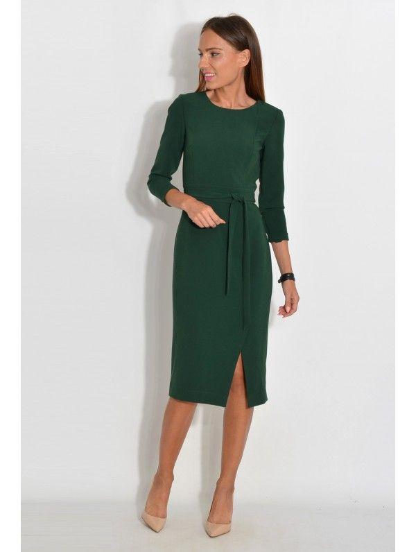 Sukienka Midi Z Rozcieciem Elegancka Wizytowa Na Wesele Polski Producent Modna Wieczorowa Do Pracy Fashion Dresses For Work Dresses