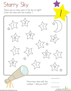 Kindergarten Counting & Numbers Color by Number Worksheets: Learning Numbers: Number 1