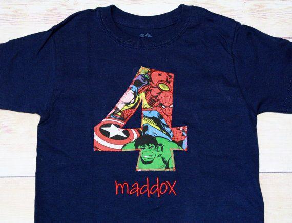 Superhero Birthday Shirt for Boys Birthday - Birthday 1, 2, 3,4, 5 or 6 shirt - Spiderman, Captain America, IronMan, Hulk  Birthday Shirt on Etsy, $22.00