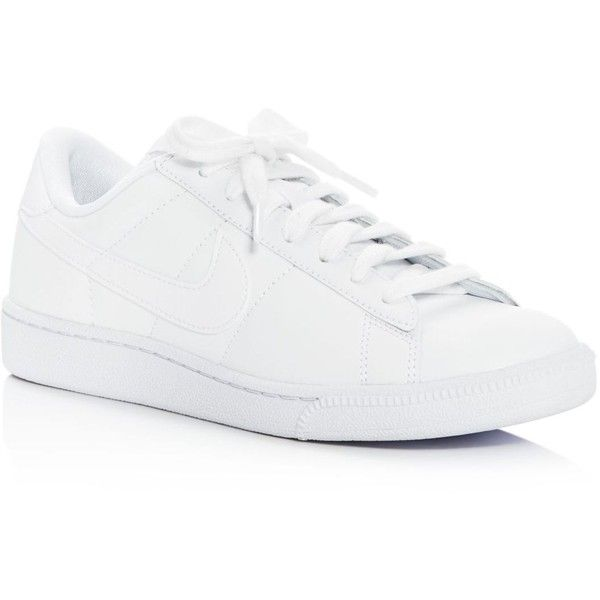 Nike Tennis Classic Lace Up Sneakers ($80) ❤ liked on Polyvore featuring shoes, sneakers, white, lace up sneakers, tennis sneakers, white sneakers, tennis trainer and white leather shoes