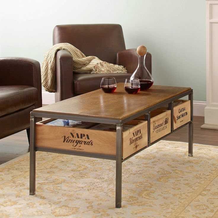 12 best vintage coffee table images on pinterest retro for Vintage wine crate coffee table