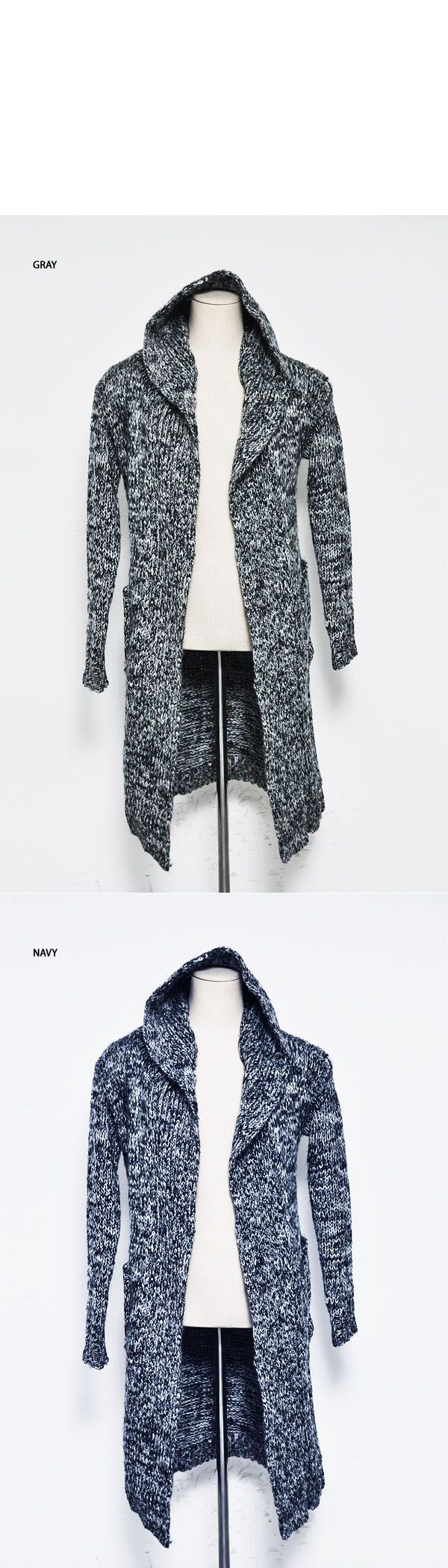 Outerwear :: Coats :: Re)Edge Long Hood Chunky Knit Cape Coat-Coat 59 - Mens Fashion Clothing For An Attractive Guy Look