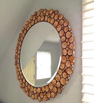 Moldura de espelho com pedaços de madeira   Reciclagem no Meio Ambiente