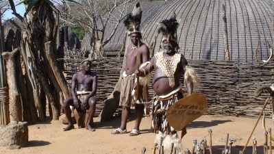 Zulu Chief, welcoming us to his village