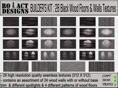 ..::RO!ACT::..DESIGNS Builder's Kit: 28 Black Wood Floors