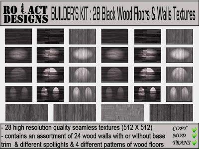 ..::RO!ACT::..DESIGNS Builder's Kit: 28 Black Wood Floors
