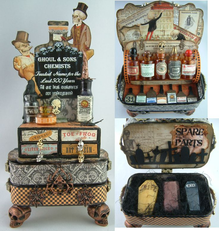 """Ghoul & Sons Chemists - Altered MatchBoxes and Altoids Tins - To see more of my art, signup to win my art, download free images, and learn new techniques checkout my Blog """"Artfully Musing"""" at http://artfullymusing.blogspot.com"""