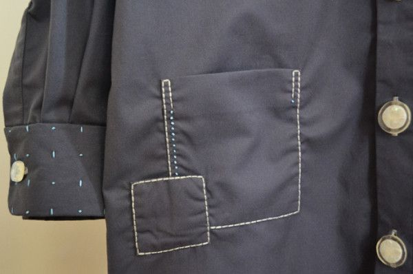 layered pocket detail of embroidered grey shirt dress by Minus Sun