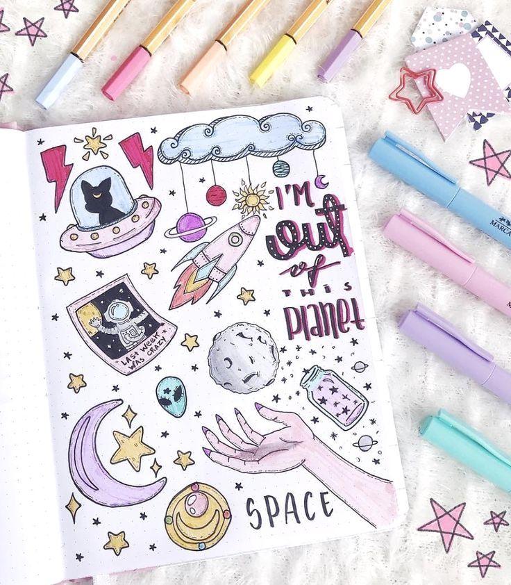 Space Doodles für das Bullet Journal – #bullet #doodles #draw #journal #Space