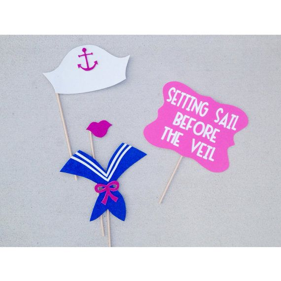 Set of 4 Nautical Themed Bachelorette Party Photo Booth Props; Setting Sail Before the Veil Sign; Navy Blue and Hot Pink;