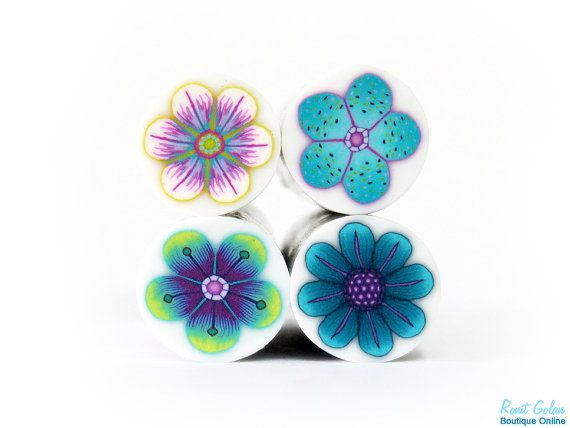 4 fleur Cannes Sarcelles Purple & Turquoise Bleu par RonitGolan
