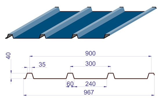 PR 40/300 trapézlemez