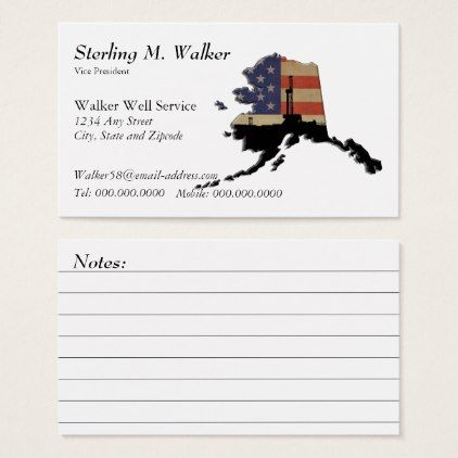 Alaska US Flag Oil Drilling Rig with Notes Business Card - black and white gifts unique special b&w style