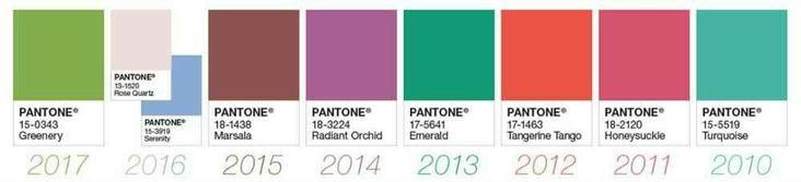 Pantone:colores y tendencias! Pantone es un sistema de codificación del color que pronostica a través de la psicología, el poder y la emoción del color las tendencias globales de las paletas de color. Estos han sido los elegidos de la década.