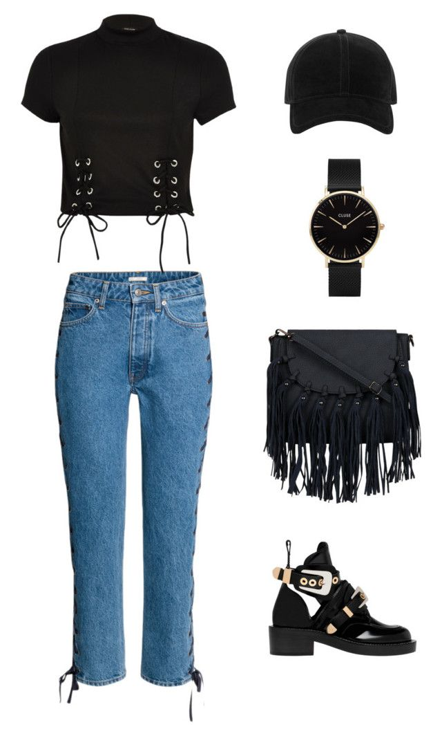 """Black casul"" by meysiskatikha on Polyvore featuring Balenciaga, River Island, rag & bone and CLUSE"