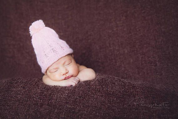 Baby girl crochet pink hat newborn knit photography props