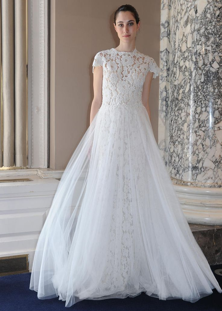 Christos Costarellos cap-sleeved lace wedding dress from Spring 2016