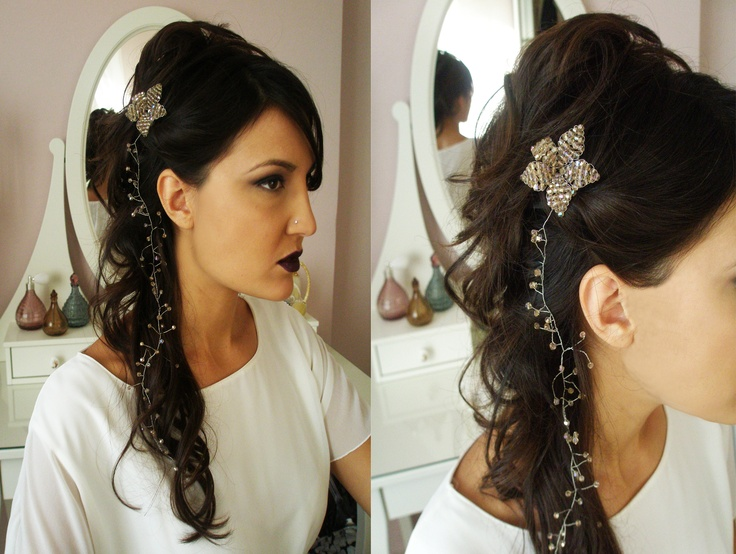 handmade headpiece with metal wire and beads