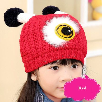 Lovely eye beanie hat with antenna knitted animal hats for kids