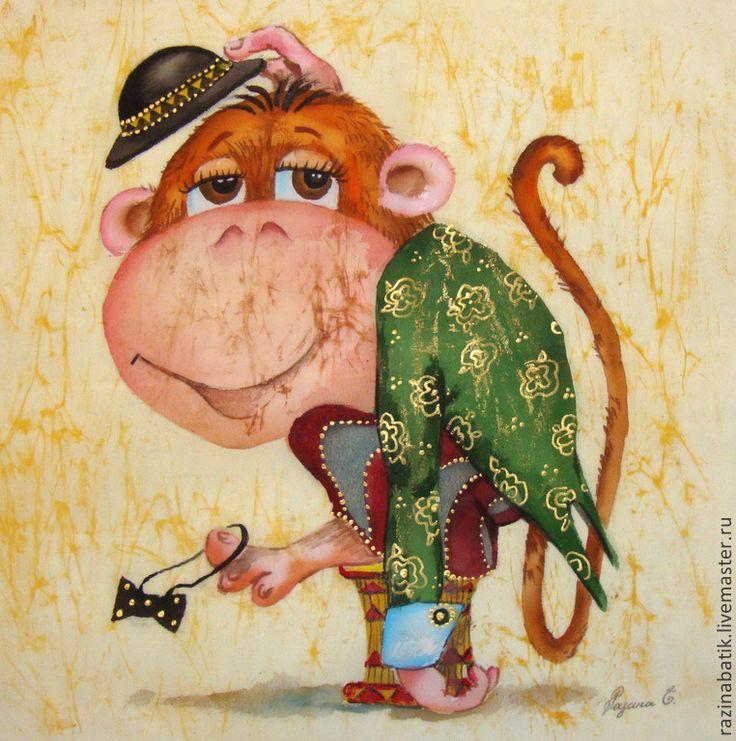 Купить Обезьянка из цирка (батик панно) - бежевый, обезьянка, год обезьяны, картина, Батик, панно, детство