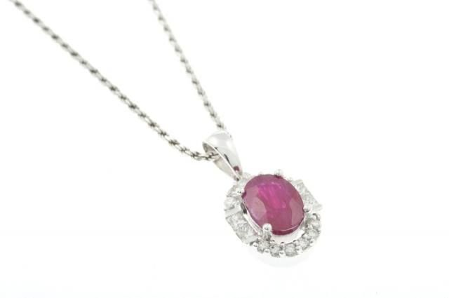 Add a pop of colour and show off your feminine side with this lovely 18ct White Gold Diamond and Ruby necklace.