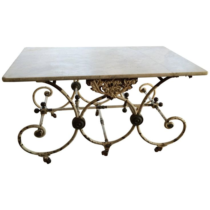 French Butcher Table with Marble Top, circa 1880 |  www.gardenvarietydesign.com