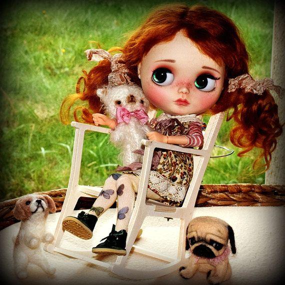 Pěkný dřevěný houpací křeslo pro BJD panenky Barbie Fashion Royalty Blythe Pullip panenek Monster High diorama dollhouse nábytek 1: 6 DIY