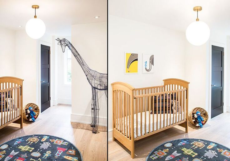 Look at this perfect nursery! Love the fishing basket full of toys and my favourite giraffe wire sculpture from Snob.