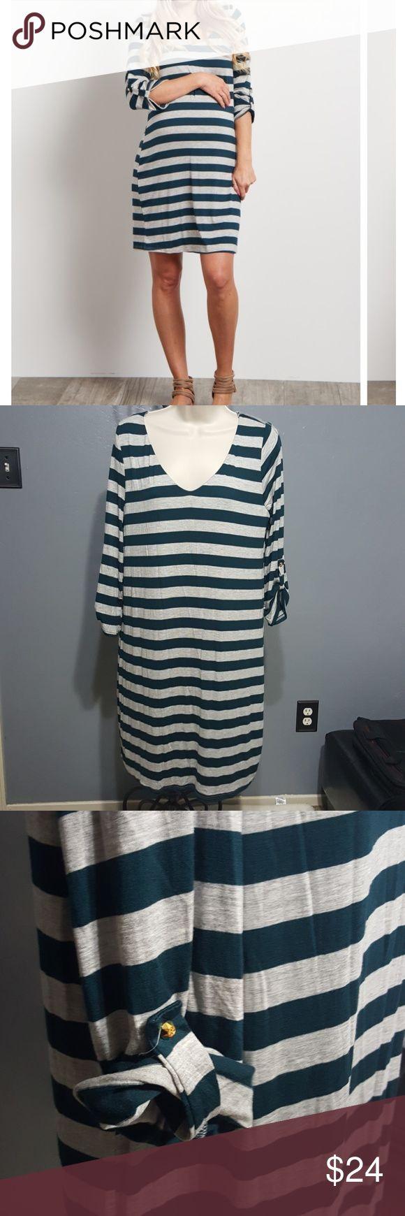 Pinkblush Green striped maternity dress size L 3/4 sleeve striped green and gray dress Pinkblush Dresses