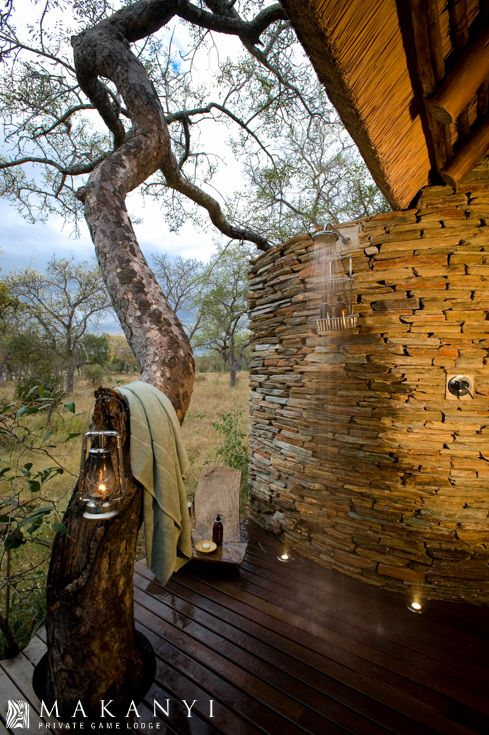 Experience a unique shower overlooking the magnificent African Landscape of the Timbavati.