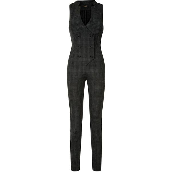 La Perla Daily Looks Checked Wool Stretch Sleeveless Jumpsuit (35.828.270 IDR) ❤ liked on Polyvore featuring jumpsuits, gray jumpsuits, grey jumpsuit, green jumpsuit, wool jumpsuit and long jumpsuits
