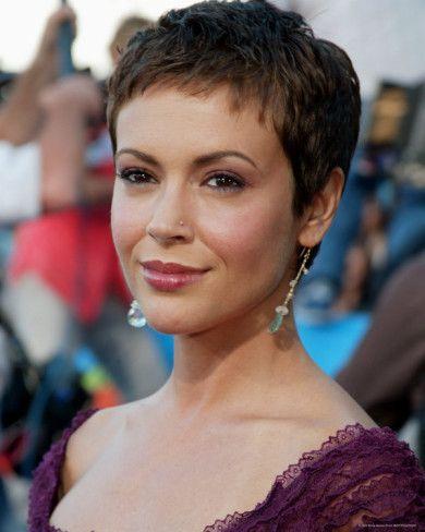 'Alyssa Milano' Photo | AllPosters.com | Super short hair, Short hair styles, Very short hair