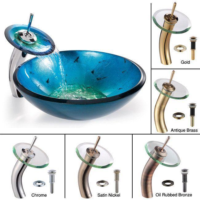 "Kraus C-GV-204-12mm-10 Bathroom Combo - 16-1/2"" Irruption Blue Glass Vessel Bath Satin Nickel Fixture Lavatory Sink Combination"