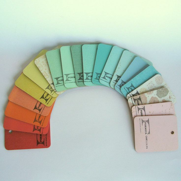 A rainbow for discontinued vintage Formica Brand Laminate colors