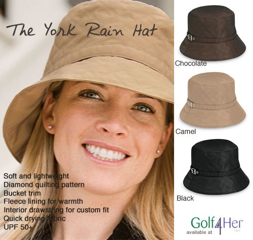 Looking for an uber-chic rain hat? You will love the 'York' hat because it's designed with a fleece lining and an adjustable drawstring so it keeps you warm, dry and fits perfect.    Learn more > http://www.golf4her.com/Wallaroo-York-Bucket-Rain-Hat-3-colors-p/whc-yor20.htm