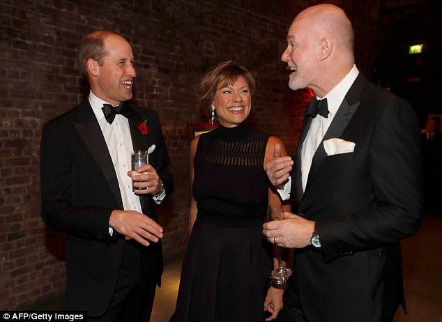 William was seen sharing a joke with BBC journalist Kate Silverton and Prince Charles' former communications secretary Paddy Harverson